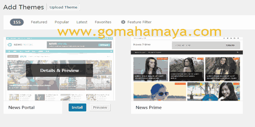 Install WordPress theme and previews
