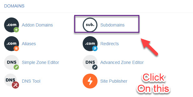 click on subdomain addons in cpanel