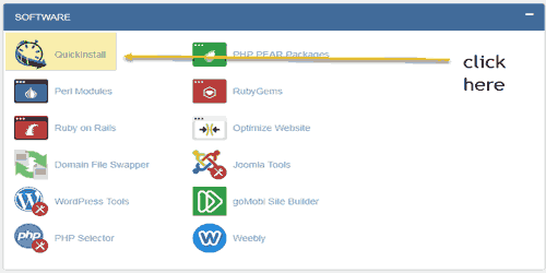 quick install in cpanel