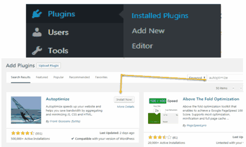 Autoptimize plugin installtion