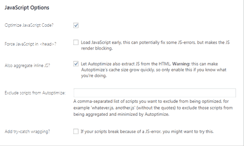 javascript options setting autoptimize