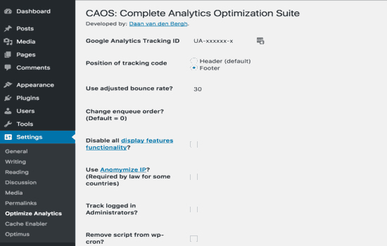 Complete Analytics Optimization Suite (CAOS) setting dashboard