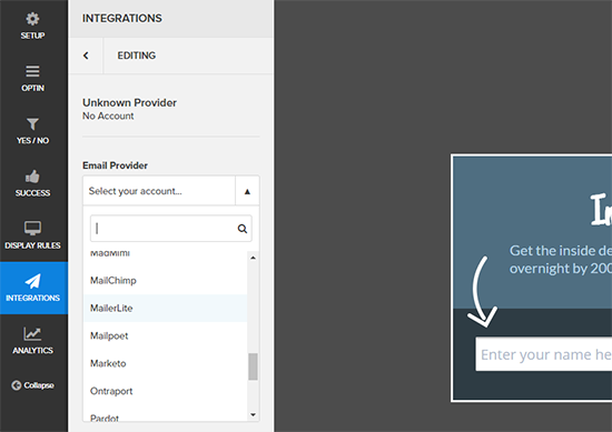 Integrations Tab OptinMonster Review