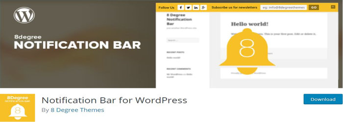 Notification Bar for WordPress Plugin by 8 degree themes