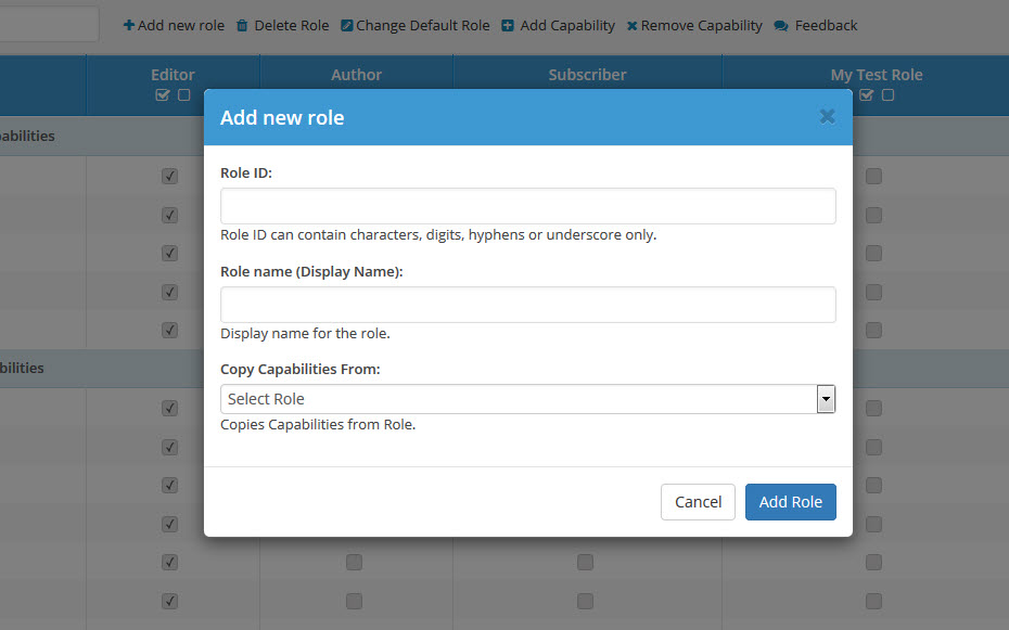 User Roles and Capabilities Plugin_Screenshot