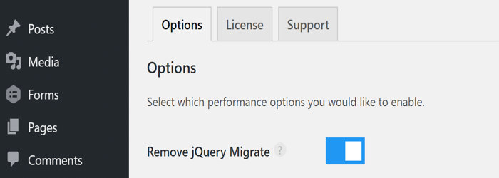 remove jquery migrate perfmatters