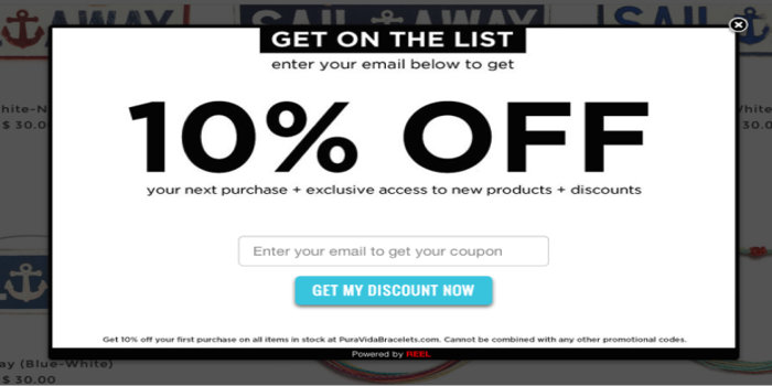 New Product discount exit intent popups example