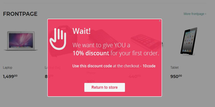 Upsell and discount with exit intent