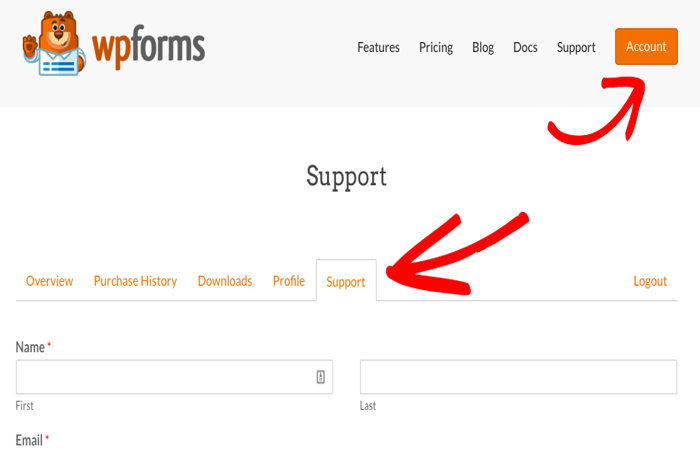 WPForms account support page