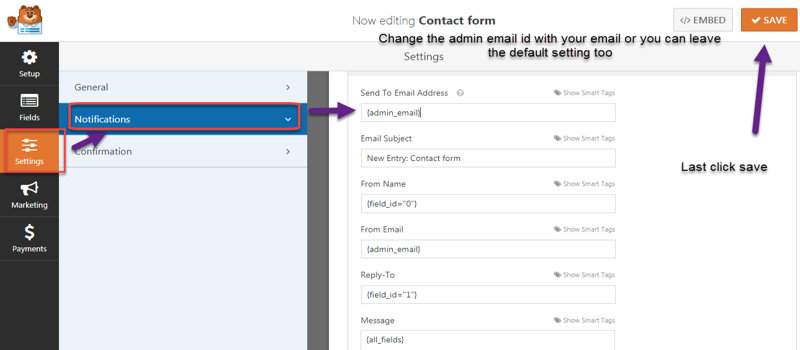 wpforms conatact forms notifcation settings