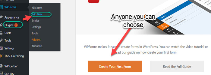 wpforms plugin add new forms