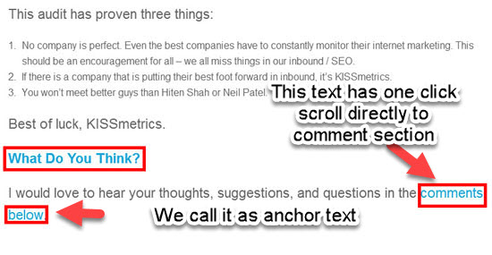 Easy access to the comments Section Using anchor text Example-How to get more blog comments