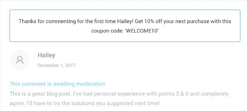 Thrive comment moderation with coupon feature