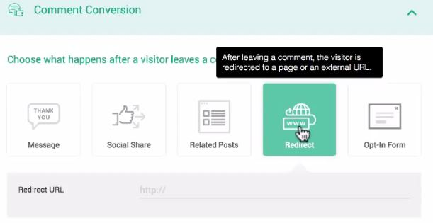 Thrive comment setting redirect to any page