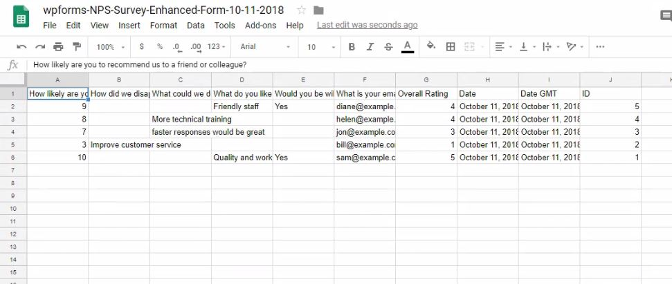 wpforms exported data in excel