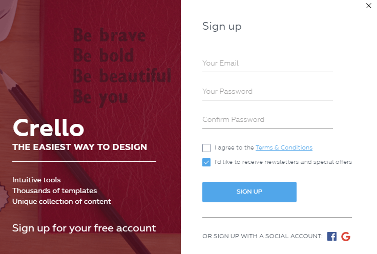 crello signup