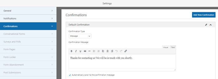 Confirmation message setting