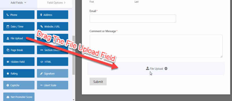 Drag file upload add field in the contact form