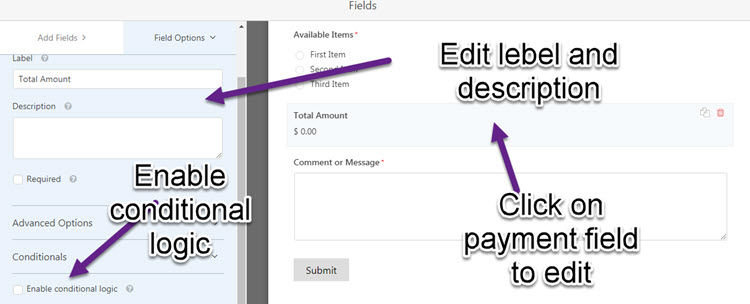 edit payent form in wpforms