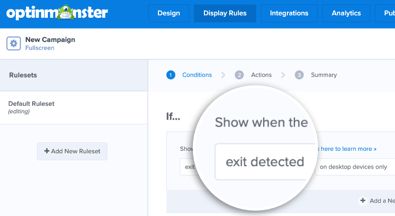 exit intent rules setting