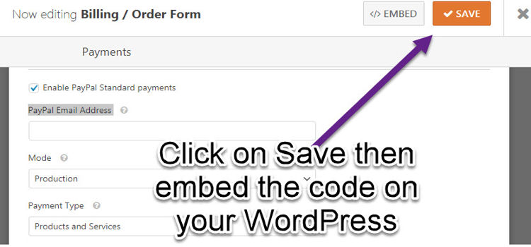 save and embed contact of wpfroms plugins