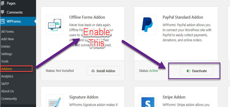 wpforms Paypal addons