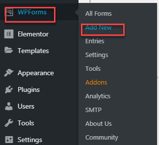 wpforms add new forms steps