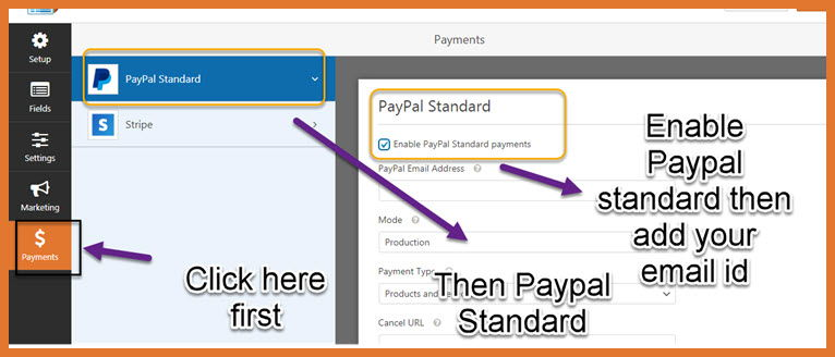 wpfroms payment setting tab paypal standard